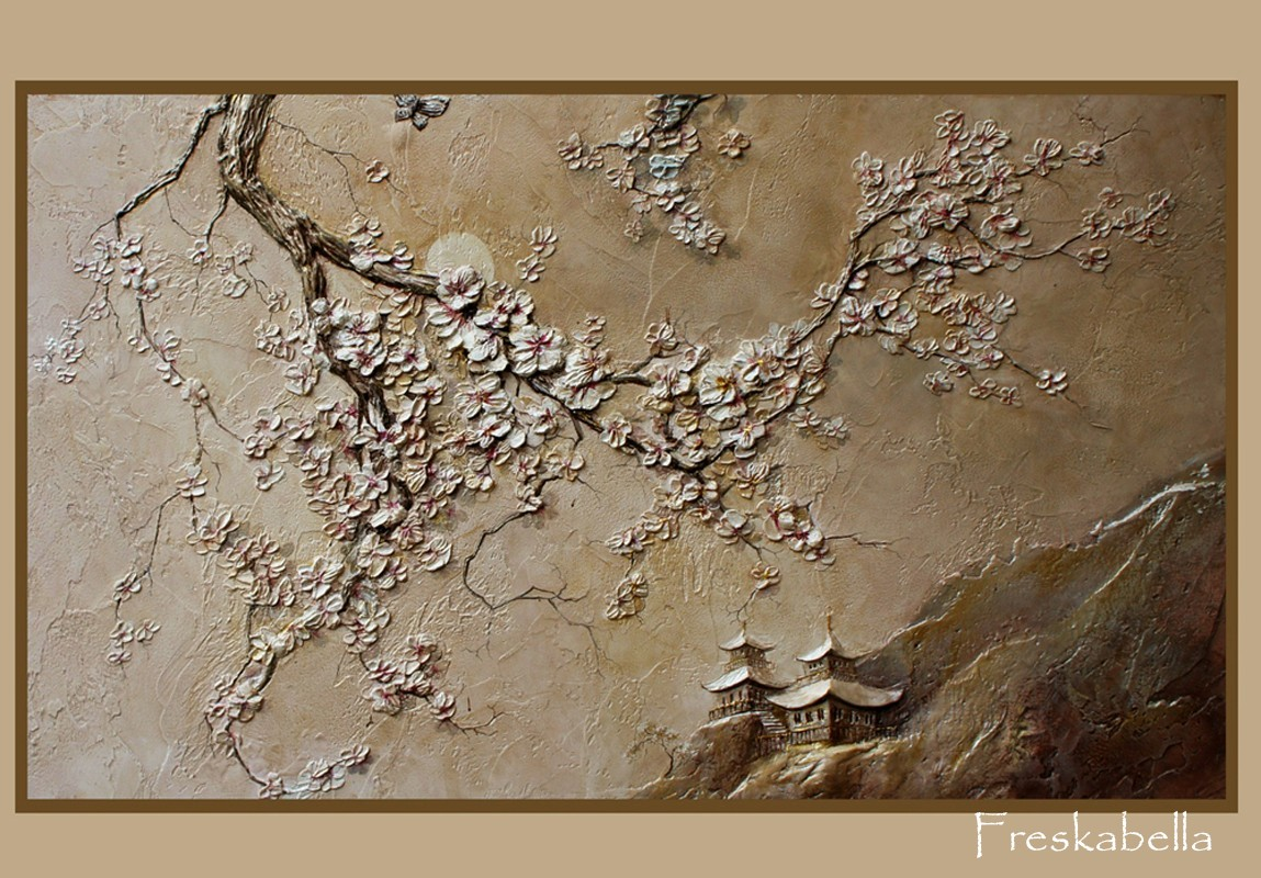 Сакура и горы на стене своими руками 27