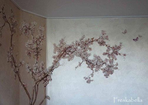 Сакура и горы на стене своими руками 14