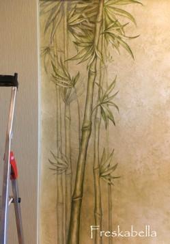 Рисунок бамбука на стене